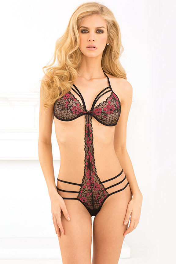 René Rofé Sexy Lingerie 301283-BLK Strappy Lace Teddy with String Back-Front View
