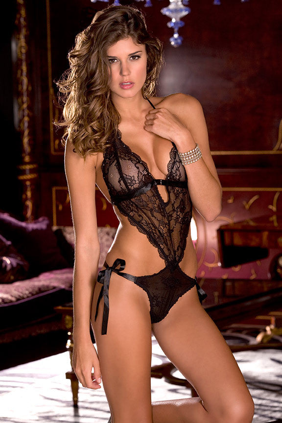 Lace V-Front Tie Back Side Tie Teddy