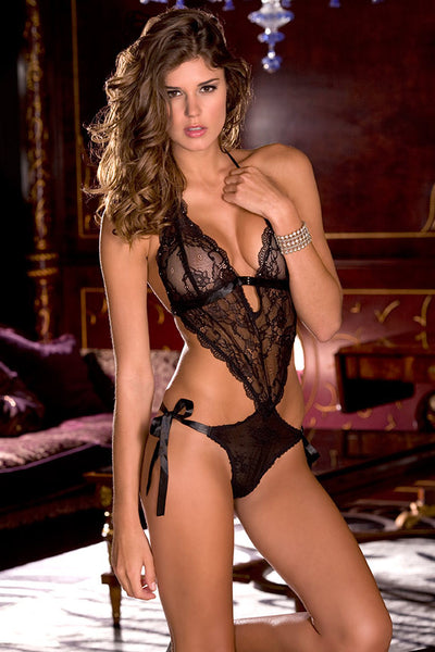301538<br>Lace Front Tie Back Teddy