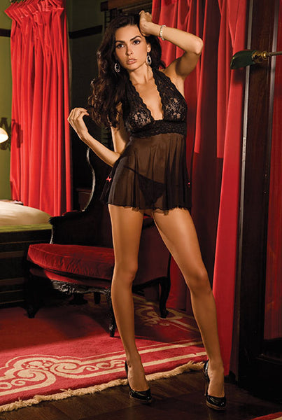René Rofé Sexy Lingerie 30941-BLK Two Piece Lace & Mesh Halter Babydoll and G-String Set-Front view