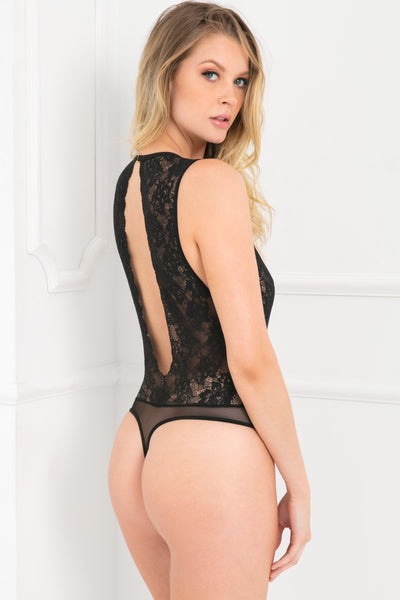50005-BLK - Radiant Mesh and Lace Body Jewelry Bodysuit - René Rofé Sexy Lingerie - Back View