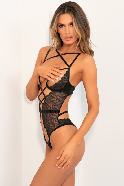 Exquisite Restrictions Open Cup Lace Teddy - René Rofé Sexy Lingerie