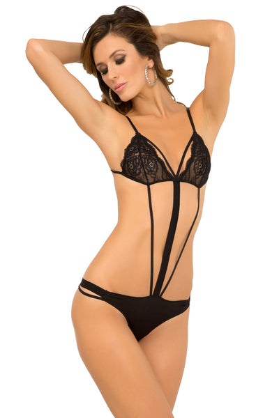 René Rofé Sexy Lingerie 502122-BLK Strappy Seduction Lace Teddy-Front View