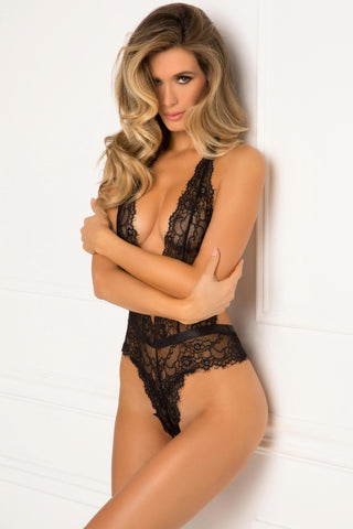 502153-BLK Rene Rofe Sexy Lingerie Plunge In Eyelash Lace High Waisted Deep Plunge Teddy