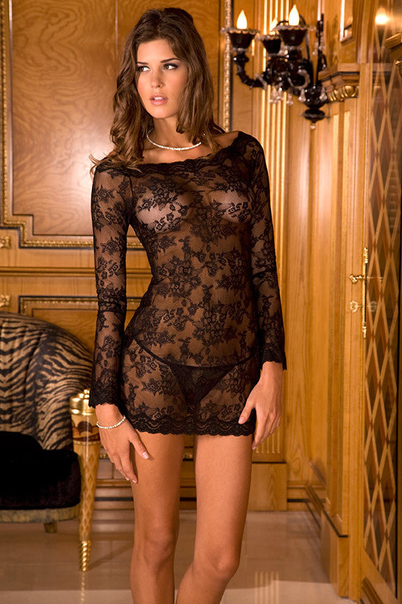 Long Sleeve Lace Chemise Dress & Thong Set