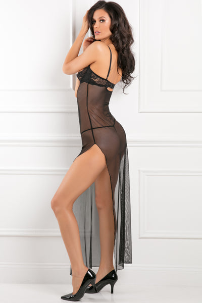 All Out There Open Cup Lace & Mesh Dress Set with Panty - René Rofé Sexy Lingerie