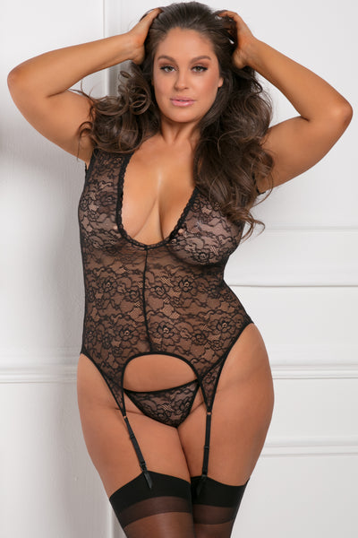 51007X-BLK - Finest Of All 2pc Garter Chemise and G-String Panty Set - René Rofé Sexy Plus - Front View