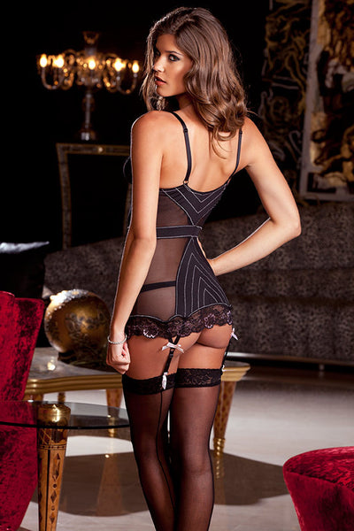 Two Piece Mesh & Lace Garter Chemise & G-String Set