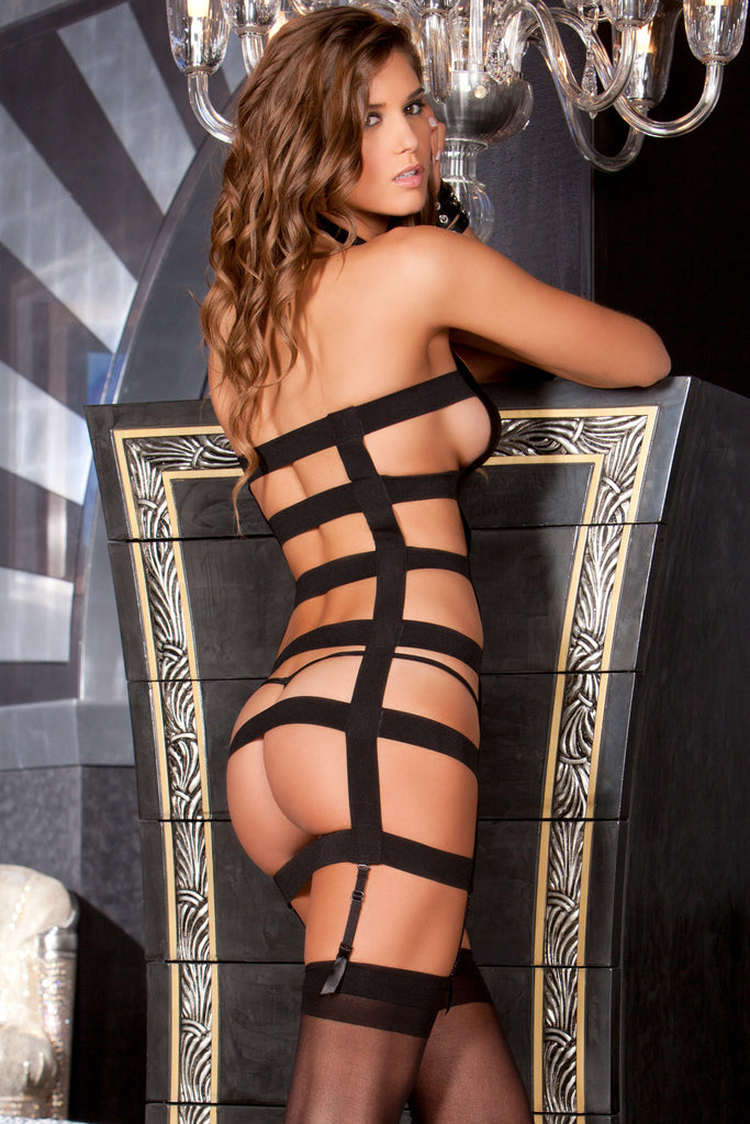 Two Piece Sexy Straps Garter Mesh Bandage Dress & G-String Set