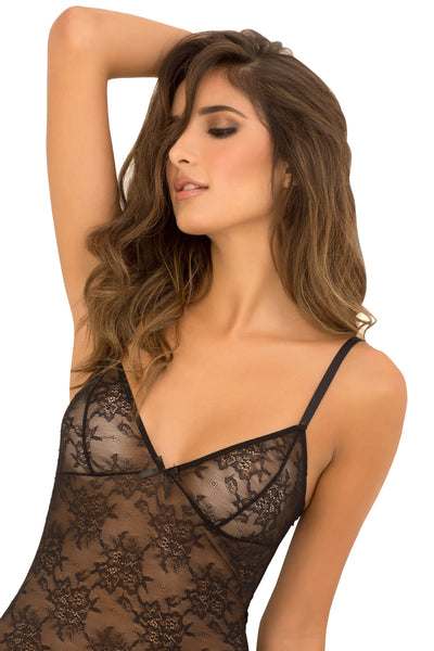René Rofé Sexy Lingerie 512100-BLK Two Piece Floral Lace Garter Chemise and G-String Set-Front View