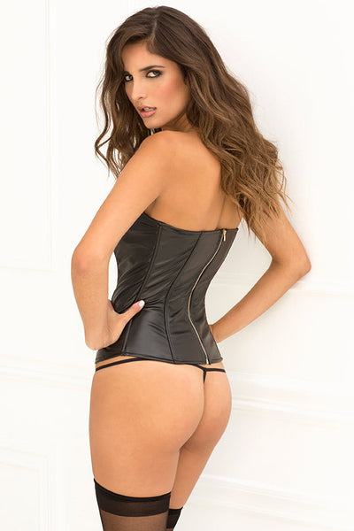 Two Piece Motorcycle Mama Leatherette Bustier & G-String
