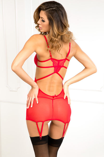 My Heart Two Piece Lace-Top Strappy Garter Chemise & G String Set