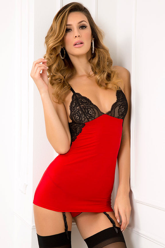 René Rofé Sexy Lingerie 512121-RED Two Piece A-List Lace Chemise & G-String Set-Front View