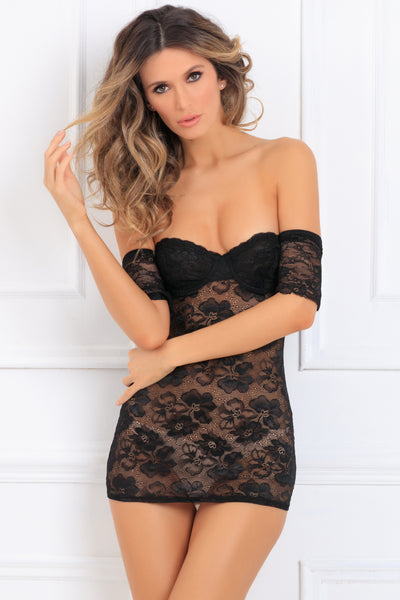 512166-BLK Seductively Stunning Lace Dress René Rofé Sexy Lingerie - front view