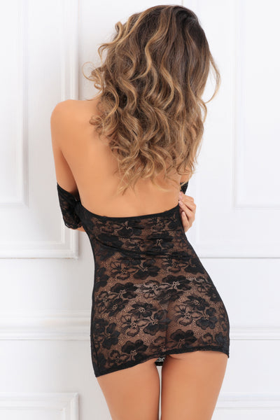 512166-BLK Seductively Stunning Lace Dress René Rofé Sexy Lingerie - back view