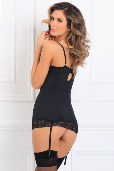 512172-BLK 2 Piece Take An Elle Chemise Set René Rofé Sexy Lingerie - back view