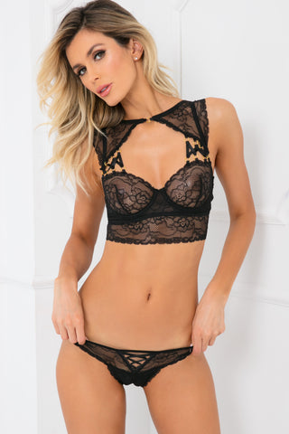 53002-BLK - 2pc Flawless Lace Bra and Crotchless Thong Set - René Rofé Sexy Lingerie - Front View