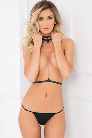 53005-BLK - 2pc Body Jewels Open Choker Cage Bra Set - René Rofé Sexy Lingerie - Front View