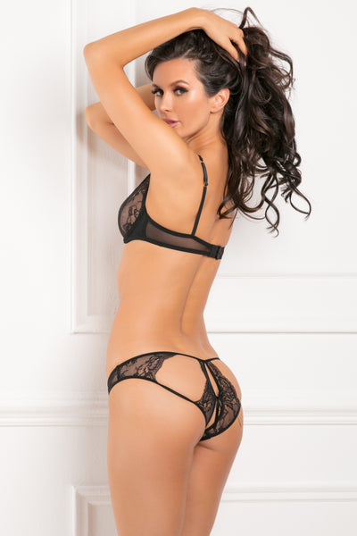 53007-BLK - 2 Piece With Love Mesh & Lace Half-Cup Bra Set - René Rofé Sexy Lingerie - Back View