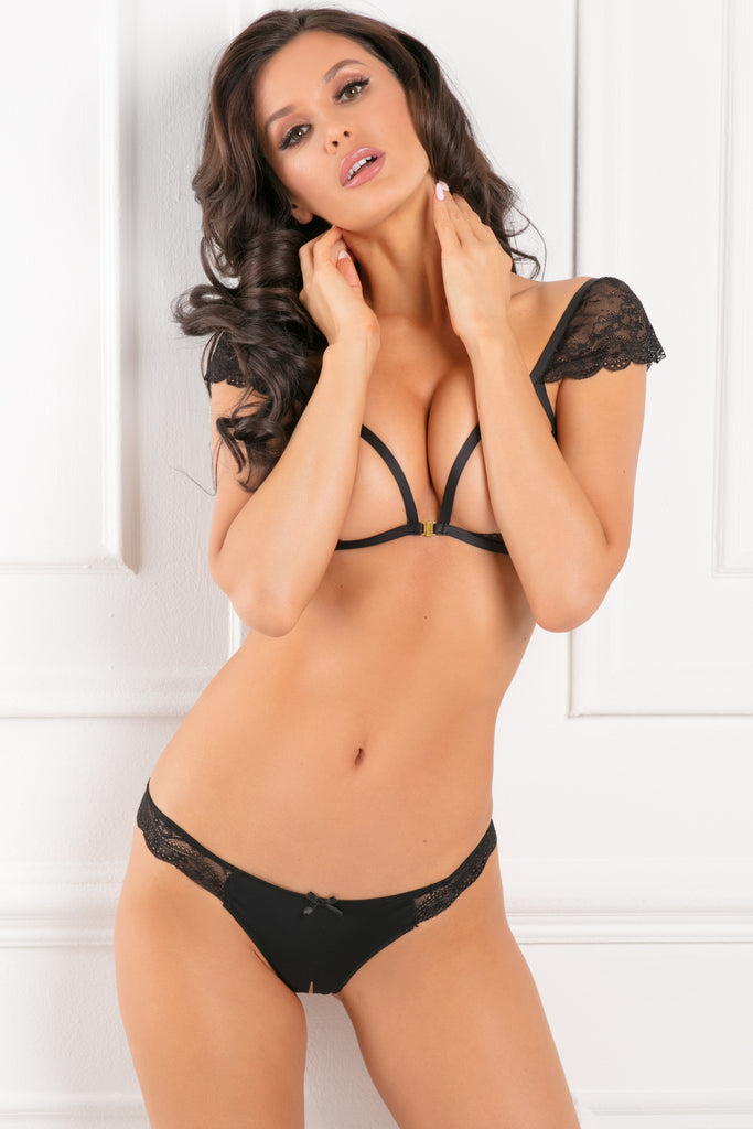 53008-BLK - Show Me Off 2pc Open Cup Bra and Crotchless Panty Set - René Rofé Sexy Lingerie - Front View