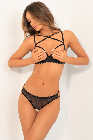 Exquisite Trap 2pc Open Cup Bra and Crotchless Panty Set - René Rofé Sexy Lingerie