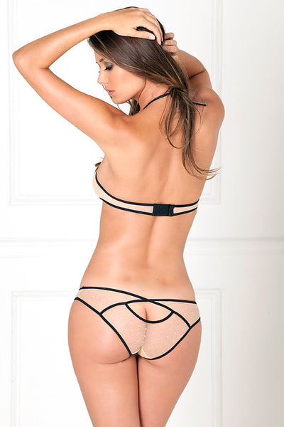 Two Piece Dot Mesh Bra Set With Nailhead Hearts and Open Back Panty