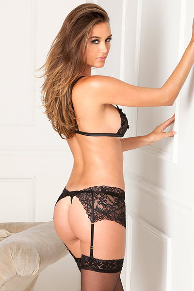 René Rofé Sexy Lingerie 532049-BLK Three Piece Lace Peekaboo Bra, Garter Belt And G-String Set-Back View