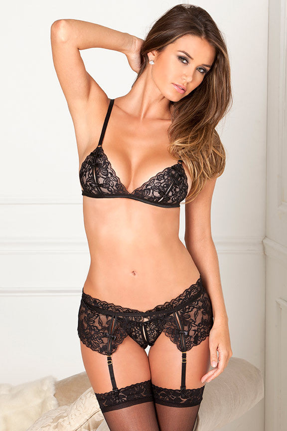 René Rofé Sexy Lingerie 532049-BLK Three Piece Lace Peekaboo Bra, Garter Belt And G-String Set-Front View