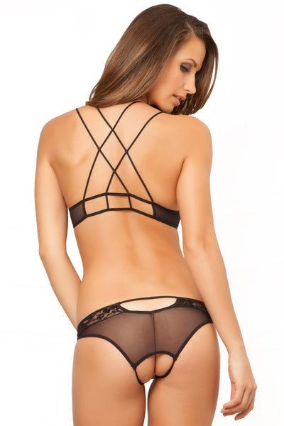 Two Piece Demicup Lace Bra & Crotchless Panty Set