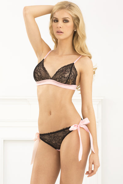 Two Piece Bow Boudoir Tieback Lace Bra & Side Tie Panty Set