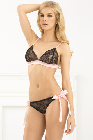 René Rofé Sexy Lingerie 532056-BLK Two Piece Boudoir Tieback Lace Bra and Side Tie Panty Set-Front View