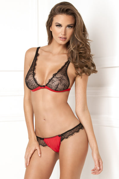 René Rofé Sexy Lingerie 532069-RED Two Piece Spellbound Lace Bra & Skirted Thong Set-Front View