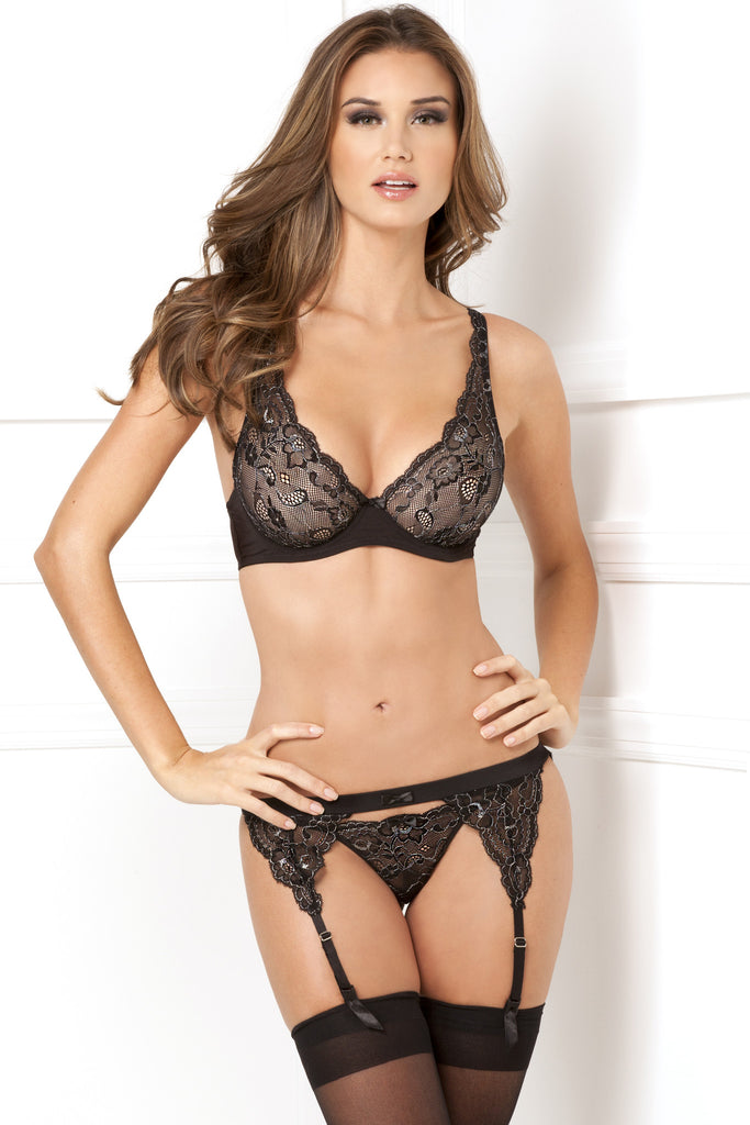 532070<br>Three Piece Lux Lace Lurex Bra Garter & Thong Set