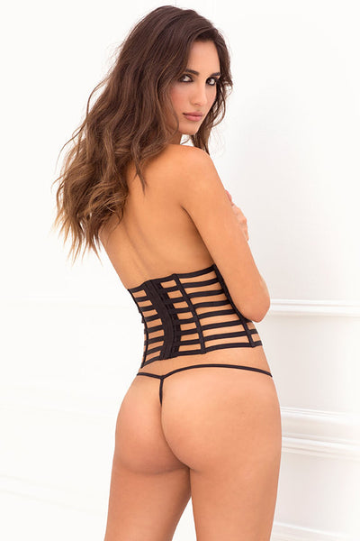 René Rofé Sexy Lingerie 532104-BLK Two Piece Cage Cincher Waspie & G-String Set-Back View