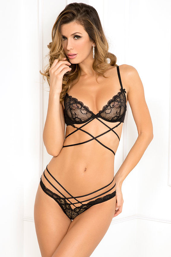 René Rofé Sexy Lingerie 532124-BLK Two Piece Soft Bondage Strappy Lace Bra and Panty Set -Front View