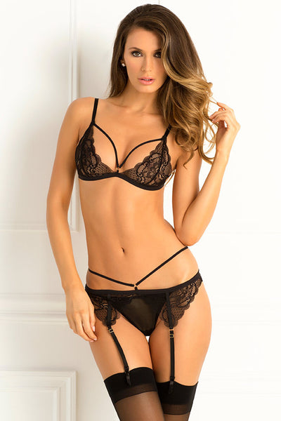 Three Piece Crave Me Lace Bra, Garter & G-String Set