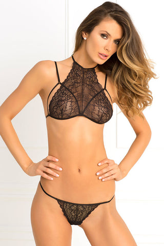 532130<br>Two Piece Most Wanted High Neck Lace Bra & G-String Set