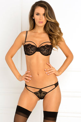 René Rofé Sexy Lingerie 532131-BLK Two Piece Rough Romance Strappy Lace Bra and G-String Set-Front View