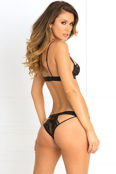 René Rofé Sexy Lingerie 532132-BLK Two Piece Hot Harness Demicup Choker Bra & G-String Set-Back View
