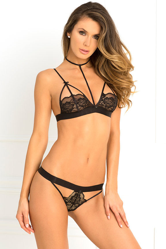 René Rofé Sexy Lingerie 532132-BLK Two Piece Hot Harness Demicup Choker Bra & G-String Set-Front View