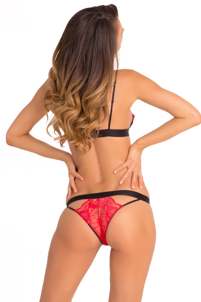 532132 Rene Rofe Sexy Two Piece Hot Harness Demicup Choker Bra & G-String Set