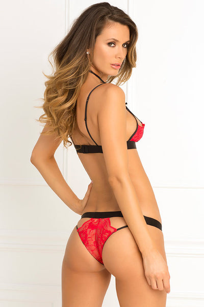 René Rofé Sexy Lingerie 532132-RED Two Piece Hot Harness Demicup Choker Bra & G-String Set-Back View
