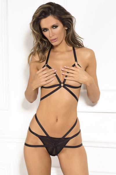 René Rofé Sexy Lingerie 532144-BLK Misbehave 2 Piece Open Cup And OpeN Butt Stappy Bondage Bra and Panty Set- Front View