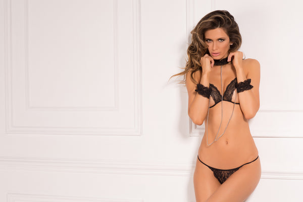 René Rofé Sexy Lingerie 532150-BLK 3 Piece Cuffed Chaos Lace Open Cup Bra Set With Choker and Cuffs -Front View