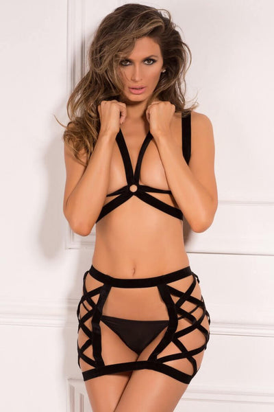 René Rofé Sexy Lingerie 532151-BLK 2 Piece Brave Bondage Bra and Mini Skirt Set-Front View