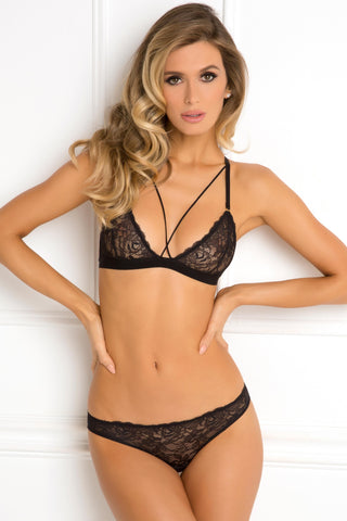 532155-BLK Rene Rofe Sexy Lingerie Don't Be Shy 2 Piece Lace and Crisscross Strap Bra Set with Matching Panty