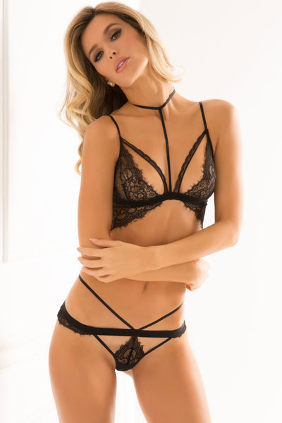René Rofé Sexy Lingerie 532157-BLK Midnight Company 2 Piece Eyelash Lace Choker Bra Set with Matching Strap and Lace Panty-Front View