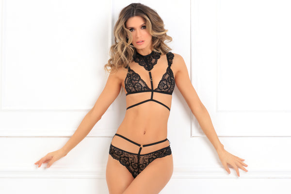 532168-BLK 2 Piece That's Rich Choker Bra Set René Rofé Sexy Lingerie - front view