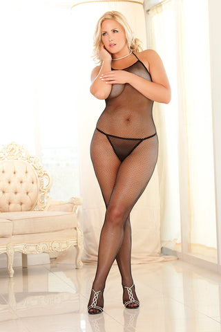 7001X<BR>Halter Fishnet Bodystocking