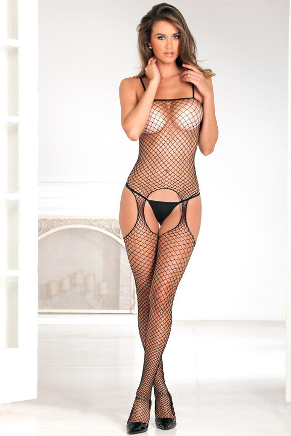 7002<BR>Industrial Net Suspender Crotchless Bodystocking